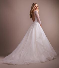 Wedding Dress Ball Gown Style 6909 Effie Hayley Paige bridal gown - Ivory tulle ball gown with encrusted pearl detail, illusion net bateau neckline and sweetheart lining, three-quarter sleeves and open square back, tiered tulle skirt with horsehair trim. Open Back Wedding Dress, Country Wedding Dresses, Wedding Dress Trends, Wedding Dress Sizes, Best Wedding Dresses, Wedding Gowns, Wedding Ideas, Wedding Stuff, Modest Wedding