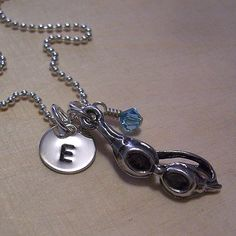 Personalized Necklace  Swim Goggles Charm by MadisonCraftStudio, $42.00