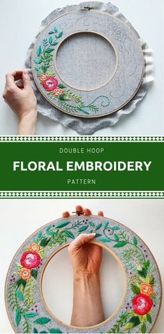 Love the double hoop! I have to try this - would be pretty simple but looks amazing! Beautiful and unique floral rose double hoop embroidery pattern - instant download so you can start today! #rose #embroidery #ad