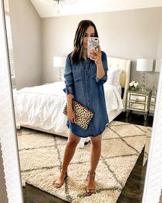IG: @mrscasual | Chambray dress, leopard clutch, & beige heels