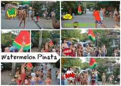 How to throw a watermelon party at the campsite. Buffet, fun activities, pinatas, watermelon on a stick! Visit www.anthomeli.com Ανθομέλι: 'Ενα καρπουζοπάρτυ με τα μπουγέλα του!