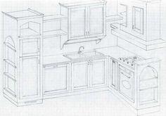 progetto cucina in muratura 3d - Cerca con Google | arredi ...