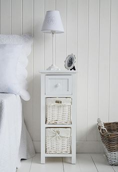 Bar Harbor White Bedside Table With Baskets And Drawers. A Slim Bedside  Table For Narrow Spaces In The Bedroom From The White Lighthouse