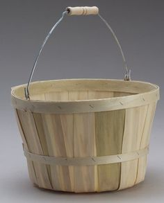"with Baskets:  Apple Baskets with Wooden Spool Handle.  10.5"" diameter x 7.5"" high, natural wood color.  http://www.farmersmarketonline.com/baskets.htm"