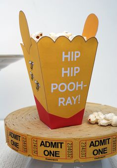 Free printable Winnie The Pooh mini popcorn boxes featuring ears and phrases from Pooh, Tigger and Piglet. Great for a Winnie the Pooh birthday party! Piglet Winnie The Pooh, Winne The Pooh, Winnie The Pooh Birthday, Bear Birthday, Tigger, Pooh Bear, 2nd Birthday, Birthday Ideas, Birthday Parties