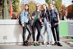 Models Irina Shnitman, Liza Ostanina, Odette Pavlova, street, Zlata Semenko