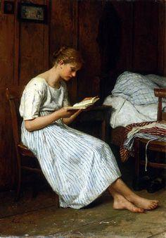 A Gotthelf Reader (1884) Albert Anker (Switzerland, 1831-1910)