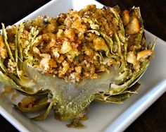 """The Ultimate Stuffed Artichoke - (For Low Carb, Sub breadcrumbs...think my trusty """"seasoned up"""" piggy pops (pork rinds) will work fine in this - *You can serve them whole as an entrée, or slice them in half for an appetizer. / cookingontheweekends.com"""
