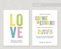 A bold and eyecatching design made beautiful using worn, vintage lettering. Printed onto lovely 320gsm textured card, double sided. The design can be adapted to a colour of your choice for free! From £2.20 per invite. www.fairyfrog.co.uk