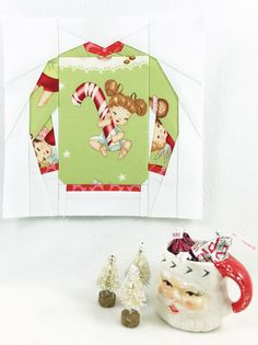 """Ugly"" Christmas Sweater Paper piecing pattern by Kid Giddy for mugrugs Christmas Quilts or other quilt blocks"