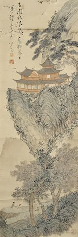 Pu Ru (1896-1963) Mountain and Pavilion, 1943 Ink and color on paper, mounted, inscribed with a poetic couplet, dated kuiwei shi yi yue (1943, eleventh month), signed Xinyu and with four artist's seals reading songchaoke, jiuwangsun, Pu Ru and jiang qian shui mo qiu guang wan. 38 1/2 x 12 5/8in (97.8 x 32.1cm) 溥儒 高閣秋風圖 設色紙本 鏡片 一九四三年作