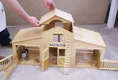 This Toy horse stable Is long, and scaled for the Breyer horses. Woodworking Assembly Table, Woodworking Bench Plans, Woodworking Projects, Youtube Woodworking, Woodworking Classes, Woodworking Videos, Woodworking Jointer, Workbench Plans, Woodworking Apron