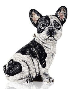 L0Q47 Judith Leiber Couture Crystal-Embellished French Bulldog Clutch Bag