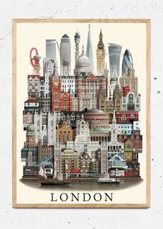 London Poster, Tourism Poster, Cityscape Art, Travel Cards, London Places, City Illustration, Home Staging, City Photography, Mural Art