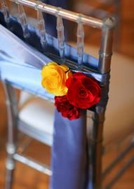 Loving this simple, but sweet, chair treatment, design by Rebecca's Silver Rose. Photo by Josh McCullock Photo & Films. Wedding Table Games, Wedding Chairs, Cheap Wedding Decorations, Flower Decorations, Blue And Silver, Red And Blue, Blue Yellow, Winter Bridesmaids, Diy Outdoor Weddings