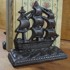 Cast Iron Bookends Nautical Ships Old Ironsides by Vintassentials