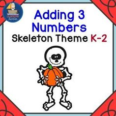 BoomLearning.com - Amazing authors make awesome learning content! This activity helps students add three one digit numbers. Students will be engaged by the friendly skeleton  theme.   This is a fun activity for the whole class, small groups, or individual students.  This activity helps to meet this common core standard.  CCSS.MATH.CONTENT.1.OA.A.2 Solve word problems that call for addition of three whole numbers whose sum is less than or equal to 10, e.g., by using objects, drawings, and…
