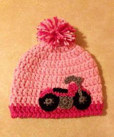 Crochet Chunky Motorcycle Pom Beanie Hat for Baby by MissMoCrochet, $18.00