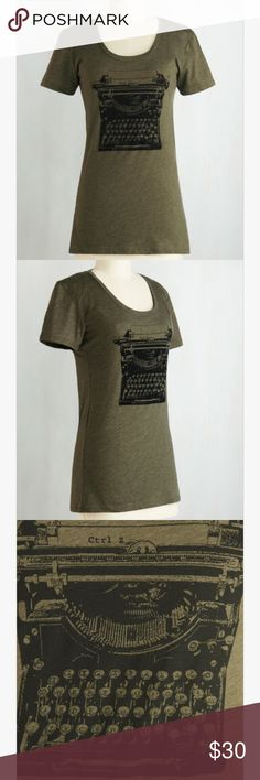 """NWOT ModCloth """"On the Write Track"""" Top This adorable graphic tee is NWOT and NEVER BEEN WORN from ModCloth! Made for the girl who adores Twain and Hemingway! Fantastic forest green with type writer design! In perfect condition! ModCloth Tops Tees - Short Sleeve"""