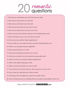 20 Romantic Questions to help while building your friendship into a relationship Date Night Questions, Fun Questions To Ask, This Or That Questions, Questions To Get To Know Someone, Couple Quiz Questions, Interesting Questions To Ask, Dating Questions, 21 Questions Game, Flirty Questions