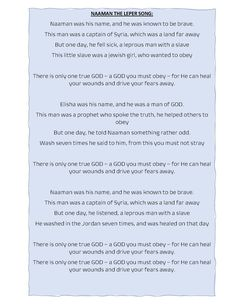 Free Lyrics for a song about Naaman and his story! Free Lyrics, Song Lyrics, Jewish Girl, This Man, Sunday School, Sick, Names, Songs, Music Lyrics