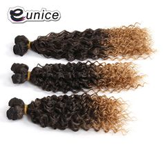 """Synthetic Bulk Hair Ombre Brown Blonde Hair Weave Kinky Curly Weaving Double Weft High Temperature Fiber 14""""16""""18""""inches"""