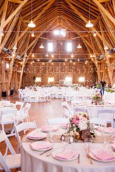 Pink and Gold Barn Wedding Ideas / http://www.himisspuff.com/rustic-indoor-barn-wedding-reception-ideas/7/