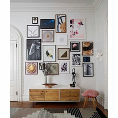 Colourful and eclectic gallery wall