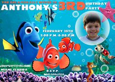 Finding Dory Invitation Finding Nemo Dory Invite by MaluhiaPrints