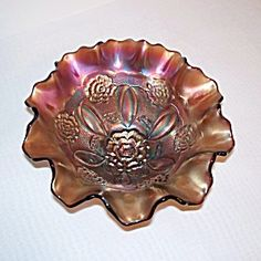 Dugan Amethyst Double Stem Rose Ruffled Carnival Glass Bowl