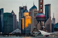A view of Pudong from across the Huangpu River on The Bund in Shanghai, China.