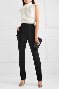 Black cady Zip fastening along back polyester Dry clean Imported Classy Outfits, Chic Outfits, Black Pants Outfit, Black Pants Work, Dressy Pants, Black Work, Black Women Fashion, Womens Fashion, Black White Parties