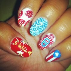 Puerto Rican Pride Nails; i like the middle blue design