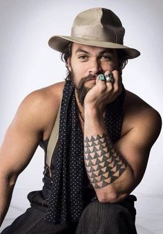 Too cute for words.Jason Momoa