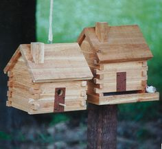 Log Cabin Birdhouse/Feeder Wood Plans.  http://www.thewinfieldcollection.com/product/Log_Cabin_Birdhouse_Feeder_Wood_Plans/Bird_Houses