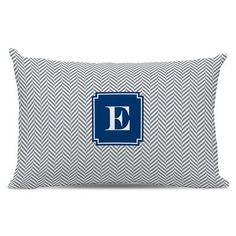 Boatman Geller Herringbone Single Initial Cotton Lumbar Pillow Letter: R