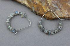 Labradorite Hoops Small Silver Hoops Pretty Earrings  by byLIANE