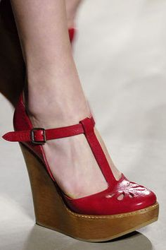 Chloe Spring 2006 T-Strap Wedge Shoes Profile Photo