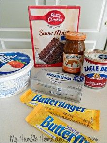 Holy Cow Cake Recipe - Caramel Butterfinger Poke Cake - My Humble Home and Garden Poke Cakes, Cupcake Cakes, Cupcakes, Dump Cake Recipes, Dessert Recipes, Boxed Cake Recipes, Chocolate Cake Mix Recipes, Homemade Desserts, Chocolate Fudge