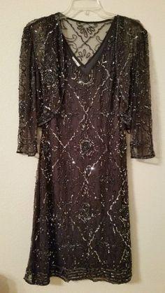 PATRA  Beaded Mesh Sheath Dress With Bolero Jacket Cocktail Slate Gray 10