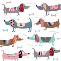Colorful Dachshund Repeat Pattern Pillow Cover by UniikStuff Arte Dachshund, Dachshund Love, Daschund, Dapple Dachshund, Dachshund Puppies, Chihuahua Dogs, Dog Illustration, Illustrations, Art Picasso