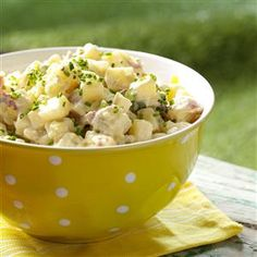 Honey-Dijon Potato Salad Recipe -No matter which recipe I tried, my potato salad always turned out bland. So I came up with this creamy version that has plenty of pizzazz. It's so tangy and flavorful, you wouldn't realize it calls for fat-free honey-Dijon salad dressing. It's a favorite at picnics. —Kristie Kline Jones, Douglas, Wyoming