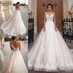 Stunning 2016 Milla Nova Princess Wedding Dresses A Line Sheer Neck Illusion Back Lace Appliques Bead Court Train Tulle Vintage Bridal Gown Sweetheart Neckline A Line Wedding Dress Wedding Bride Dresses From Dmronline, $140.11  Dhgate.Com