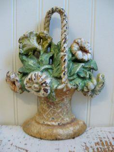 Antique Doorstop Flower Basket Hubley Doorstop Large by PoemHouse