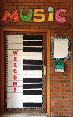 a cool idea for a door to your music classroom!What a cool idea for a door to your music classroom! Preschool Music, Music Activities, Teaching Music, Preschool Bulletin, Music Games, Classroom Games, Classroom Decor, General Music Classroom, Decoration Creche
