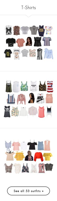 """""""T-Shirts"""" by lujzazsu ❤ liked on Polyvore featuring Moschino, MANGO, Zimmermann, Boohoo, T By Alexander Wang, FAIR+true, McQ by Alexander McQueen, Temperley London, H&M and Related"""