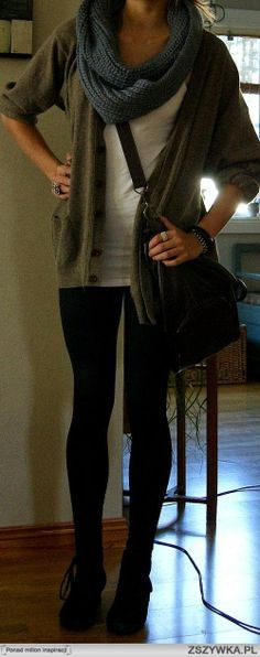 khaki coloured cardigan over a white tank and leggings with blue infinity scarf