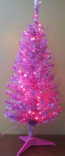 New Pink 4 Ft Retro Aluminum Like Tinsel Pre Lit Christmas Tree Beautiful Ebay