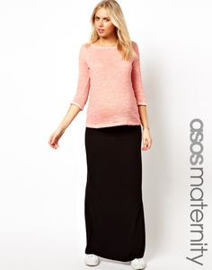 ASOS Maternity | ASOS Maternity Exclusive Maxi Skirt with Foldover Top at ASOS
