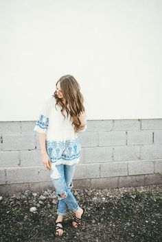 Prettiest sheer embroidered top and distressed denim jeans. Perfect for warmer fall days!
